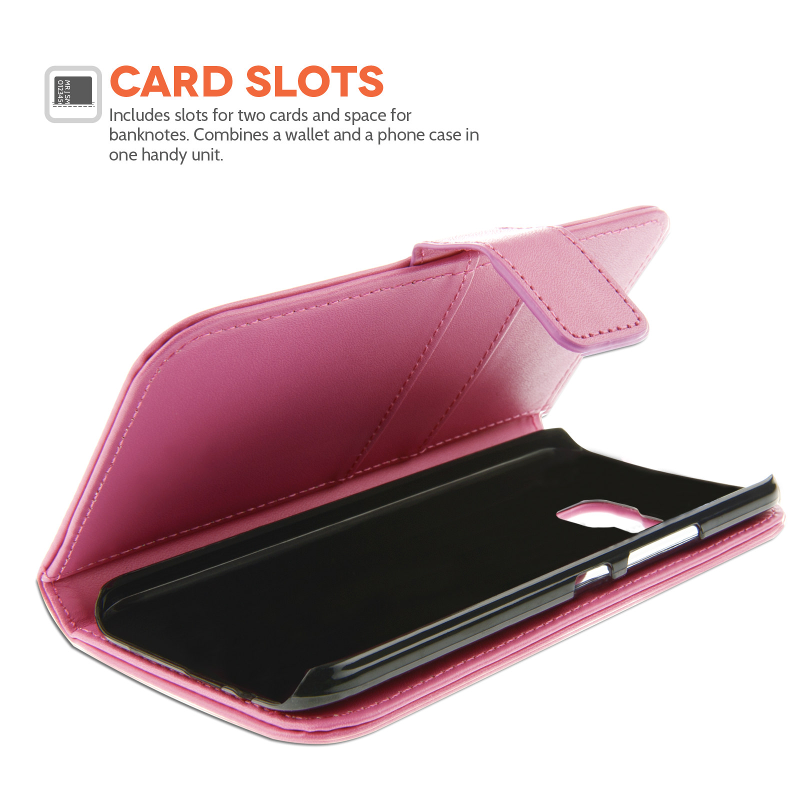 YouSave HTC M9 Leather-Effect Wallet Case - Hot Pink