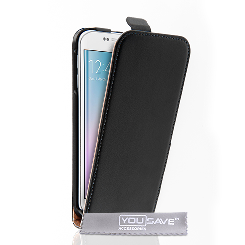 YouSave Samsung Galaxy S6 Edge Real Leather Flip Case - Black