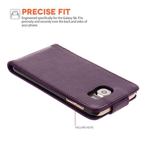 YouSave Samsung Galaxy S6 Leather-Effect Flip Case - Purple