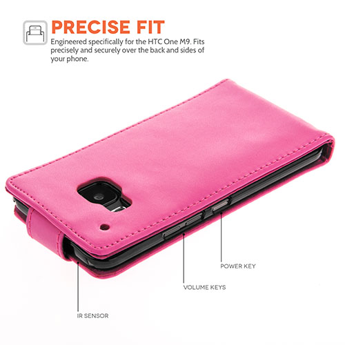 YouSave HTC M9 Leather-Effect Flip Case - Hot Pink