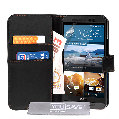 YouSave HTC M9 Leather-Effect Wallet Case - Black