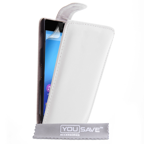 YouSave Sony Xperia Z3+ Leather-Effect Flip Case - White