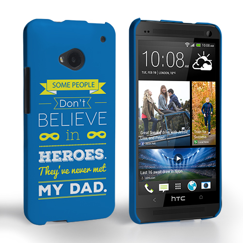 Caseflex Dad Heroes Quote HTC One Case - Blue