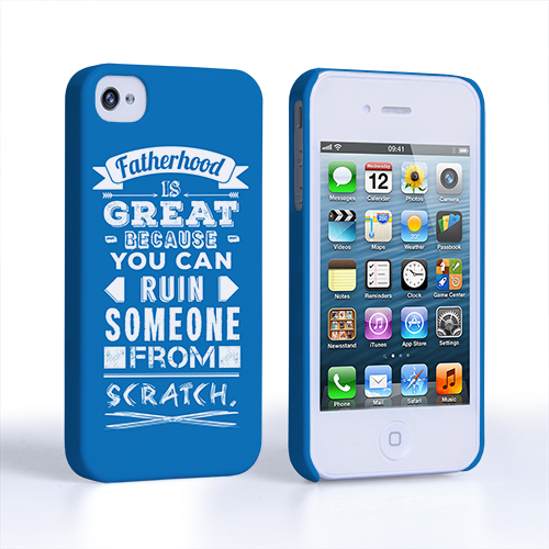 Caseflex Fatherhood Funny Quote iPhone 4 / 4S Case – Blue