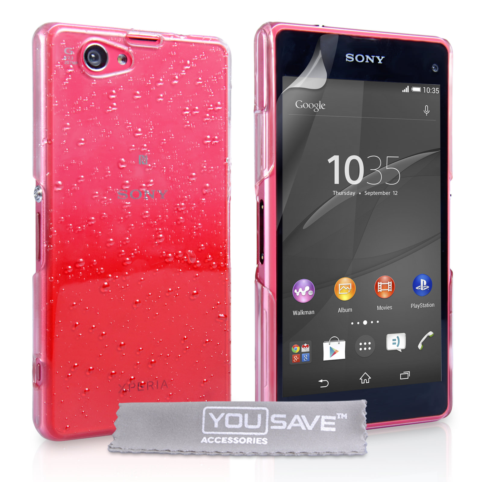YouSave Sony Xperia Z4 Compact Raindrop Hard Case - Red-Clear