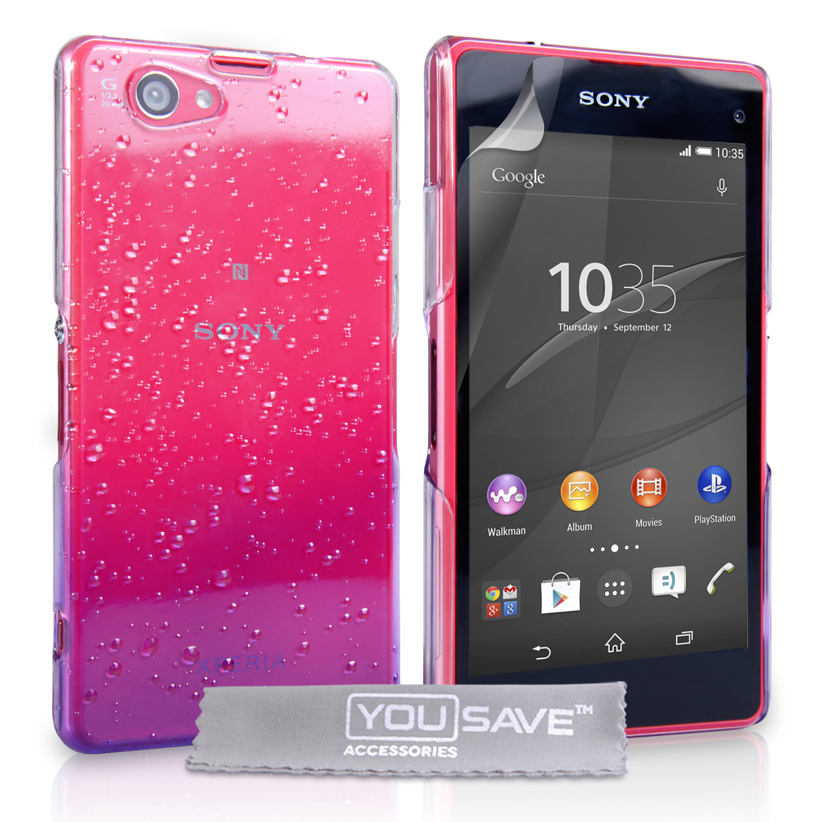 YouSave Sony Xperia Z4 Compact Raindrop Hard Case - Purple-Clear