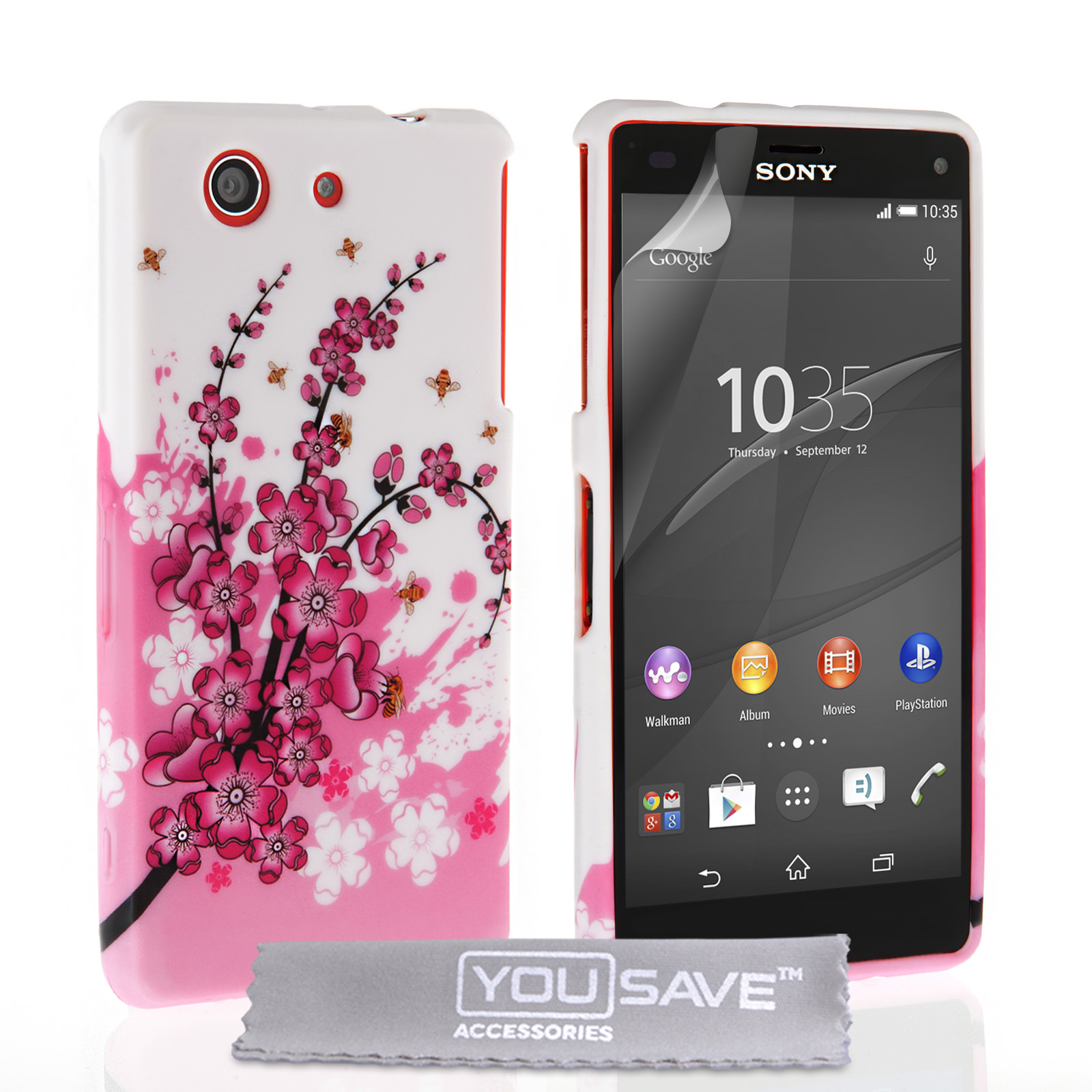 Sony Xperia Z4 pact Floral Bee Silicone Gel Case White