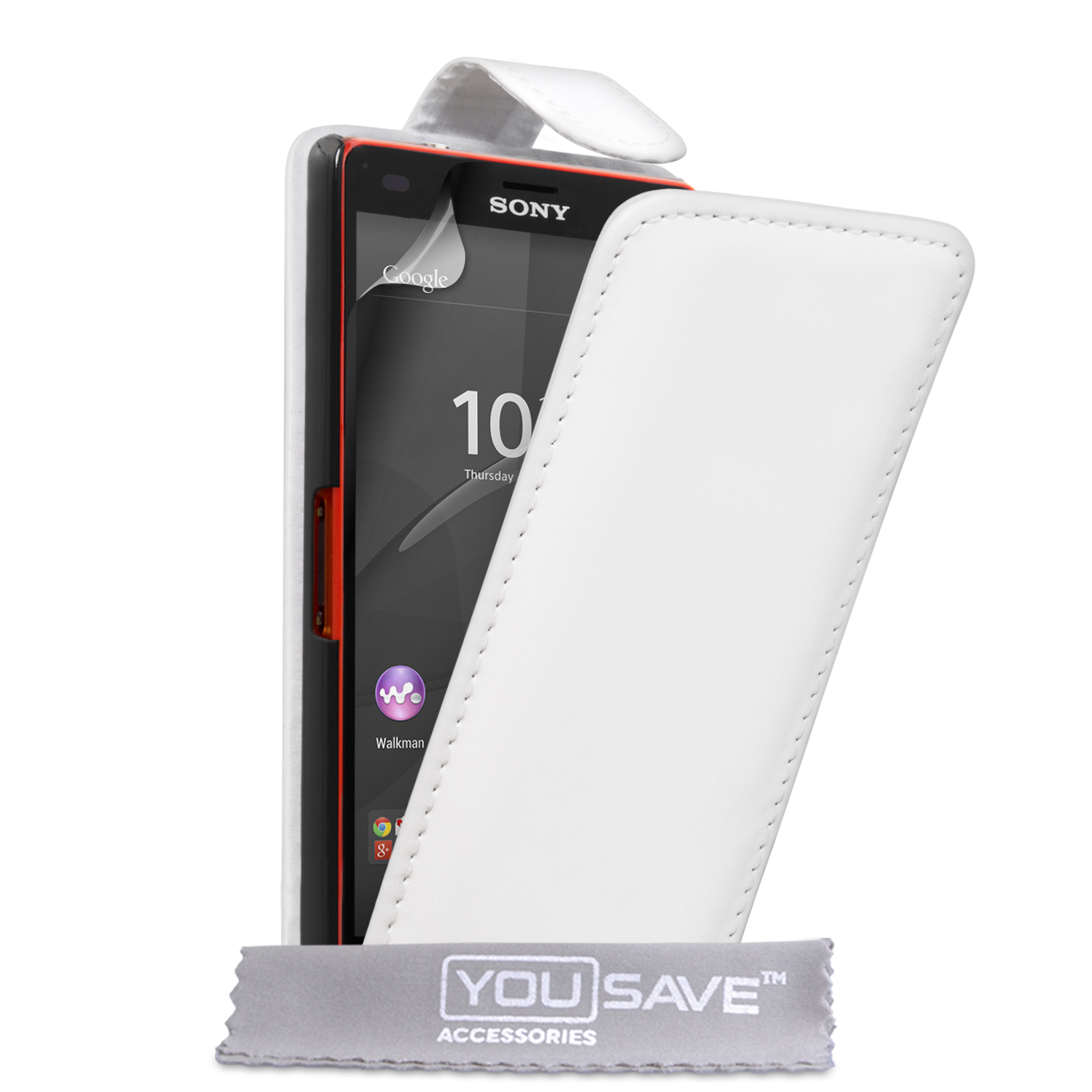 YouSave Sony Xperia Z4 Compact Leather-Effect Flip Case - White