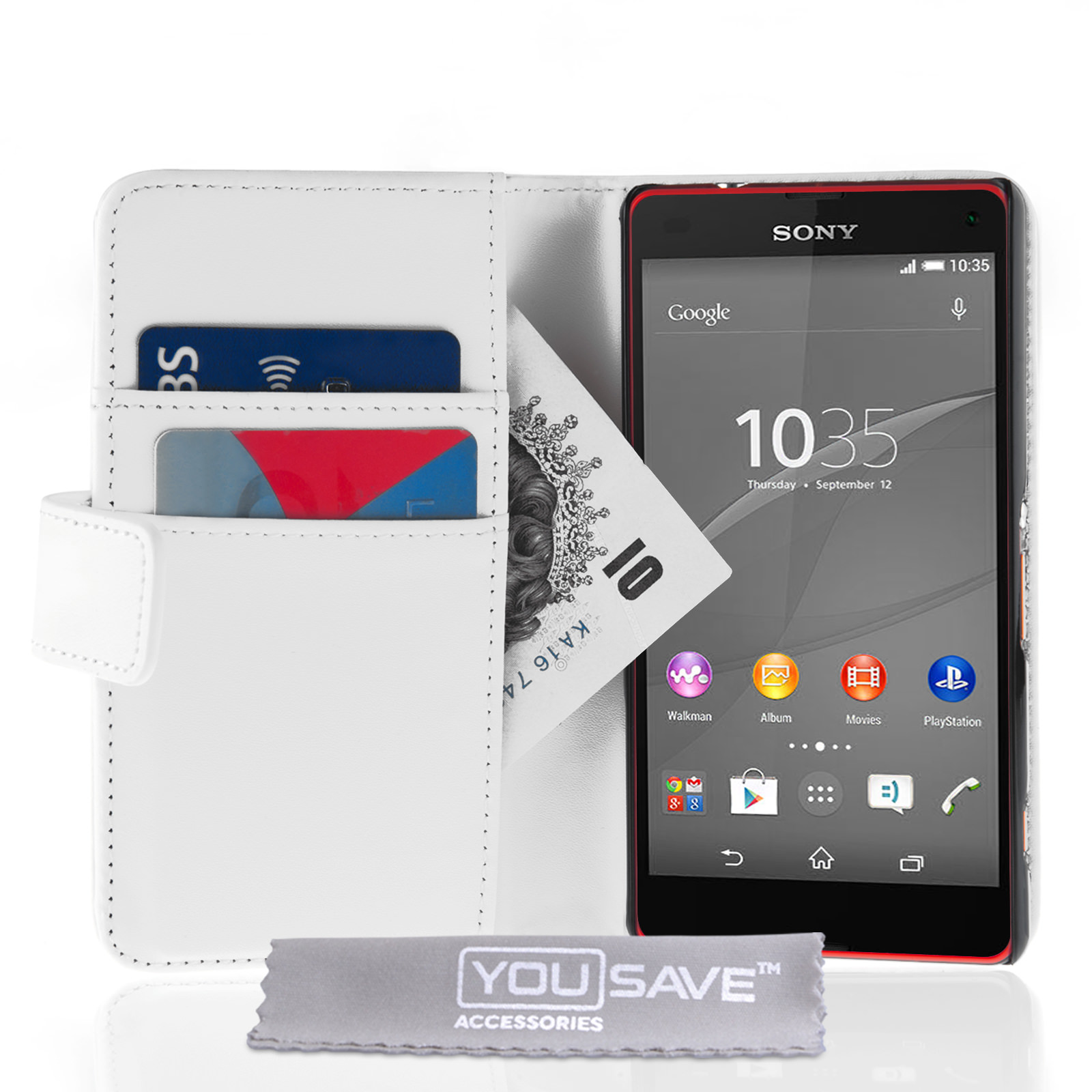YouSave Sony Xperia Z4 Compact Leather-Effect Wallet Case - White