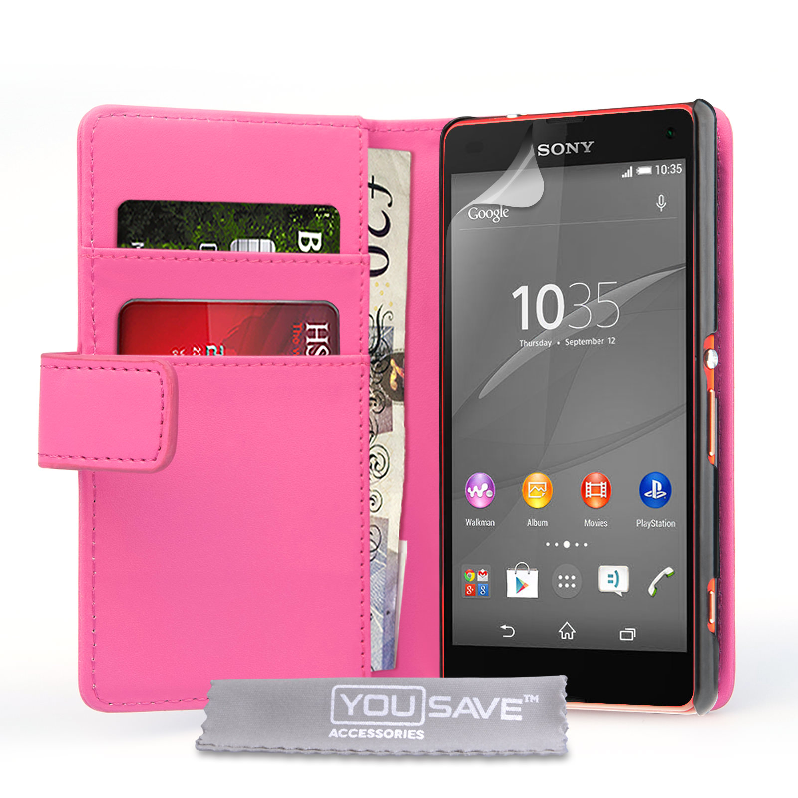 Sony Xperia Z4 pact Leather Effect Wallet Case Hot Pink