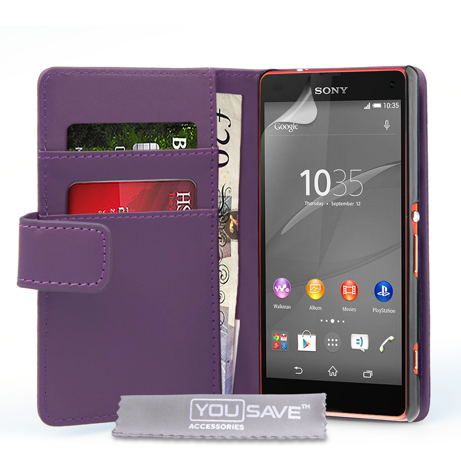 YouSave Sony Xperia Z4 Compact Leather-Effect Wallet Case - Purple