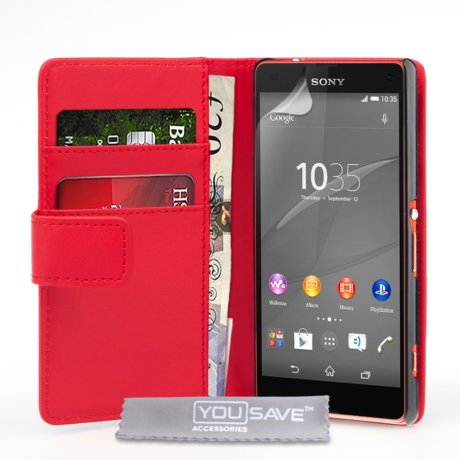 YouSave Sony Xperia Z4 Compact Leather-Effect Wallet Case - Red