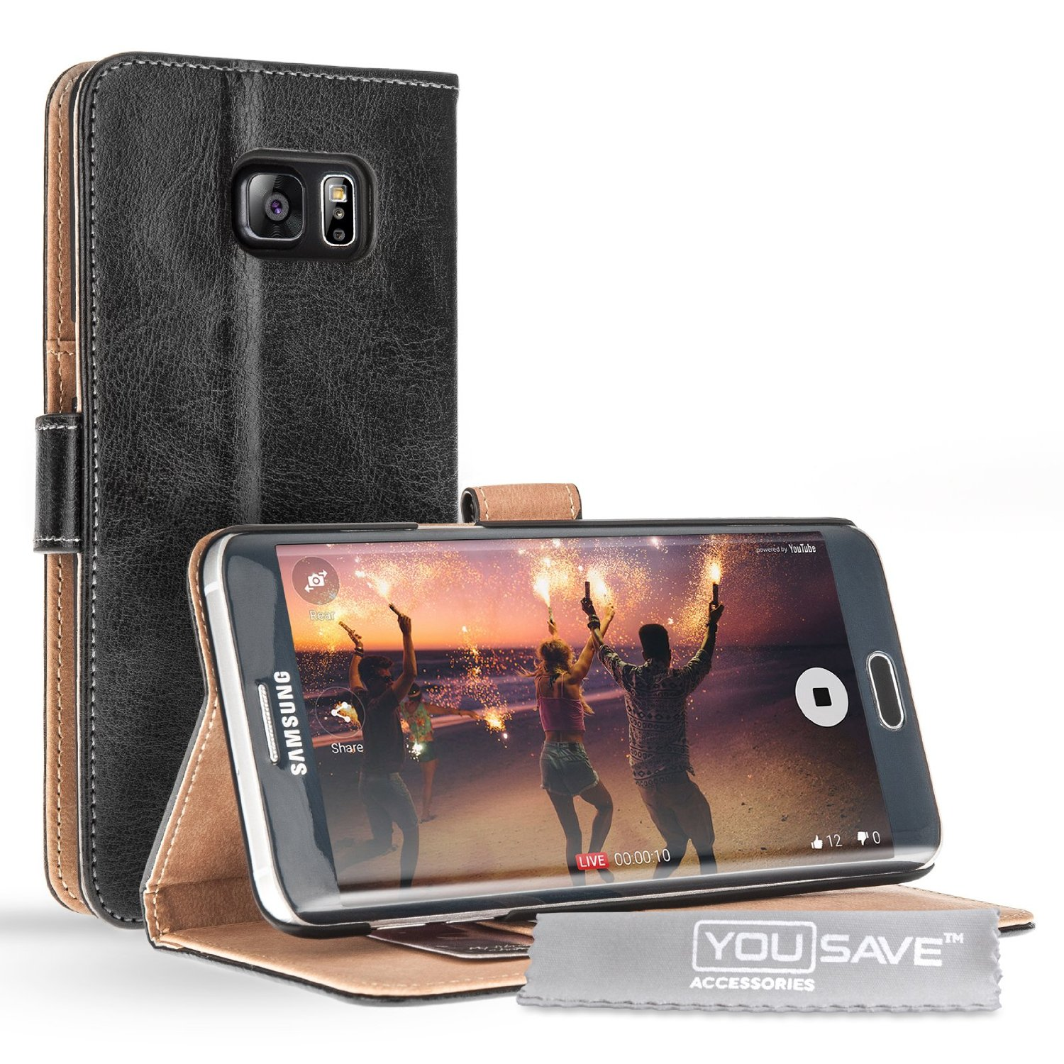 Yousave Accessories Samsung Galaxy S6 Edge Plus PU Leather Stand Wallet -Black