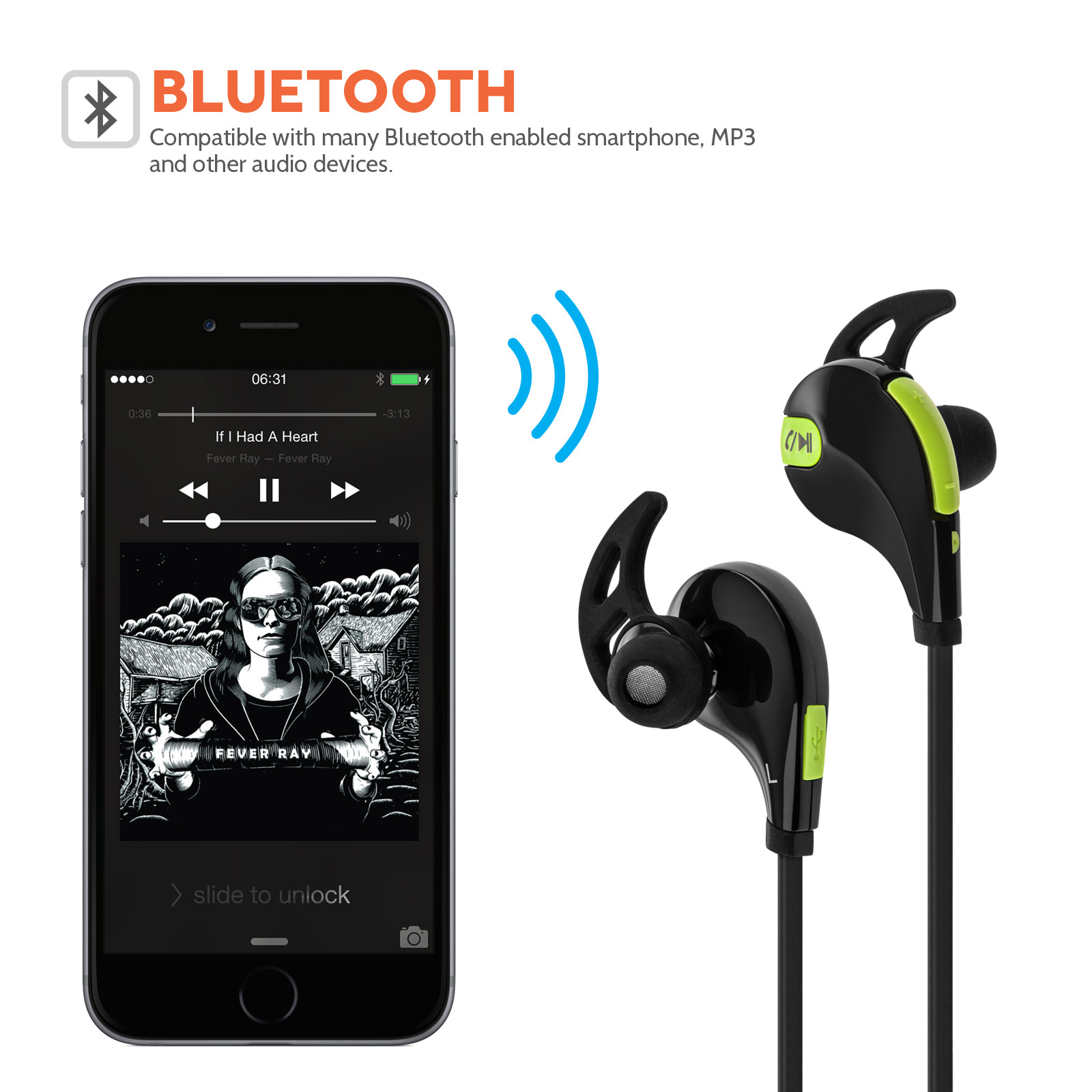 Audiance Wireless Bluetooth V 4.0 Sports Headphone -Black / Green