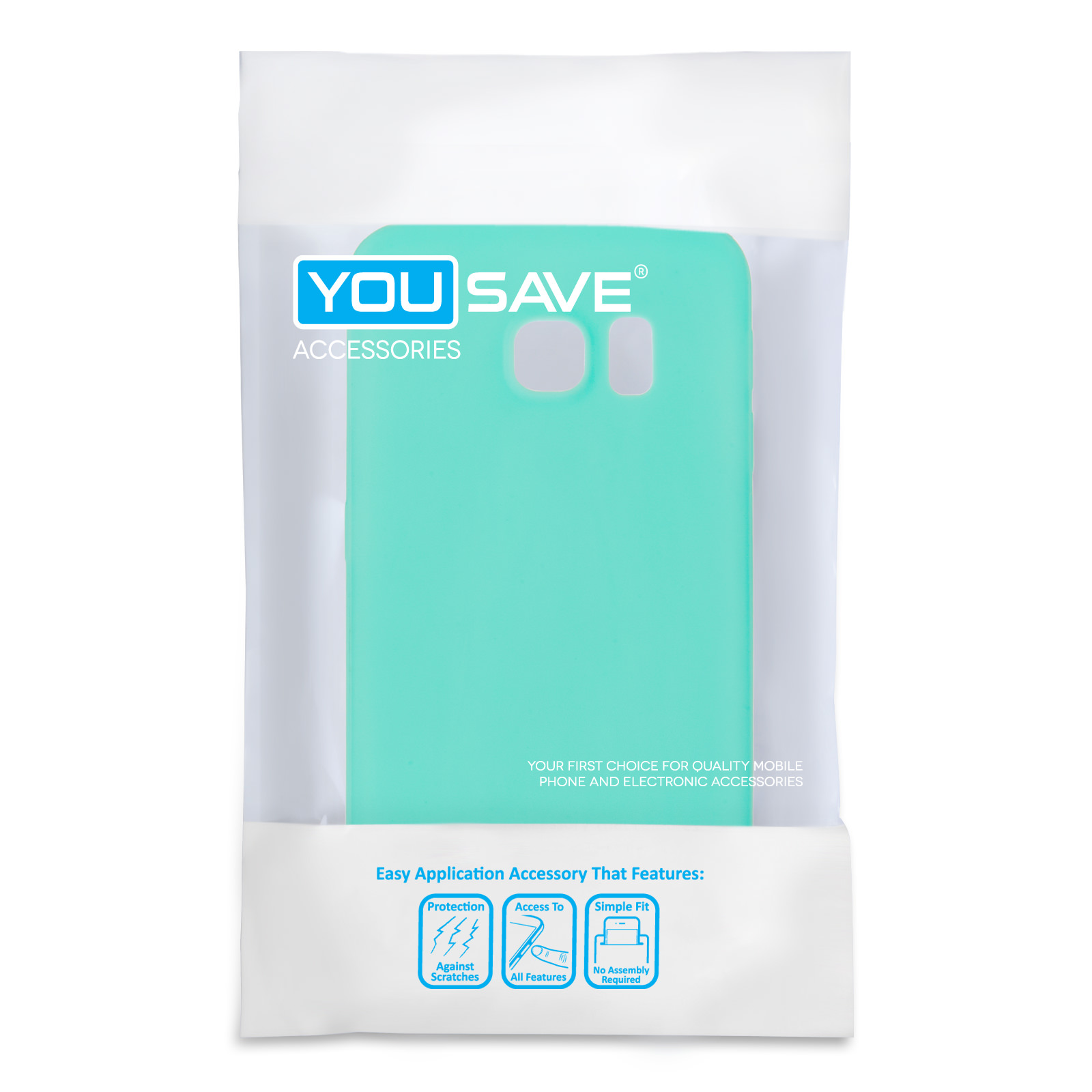 Yousave Accessories Samsung Galaxy S6 Edge New Slim Ultra Thin Gel - Solid Light Blue (Mint Green) Case