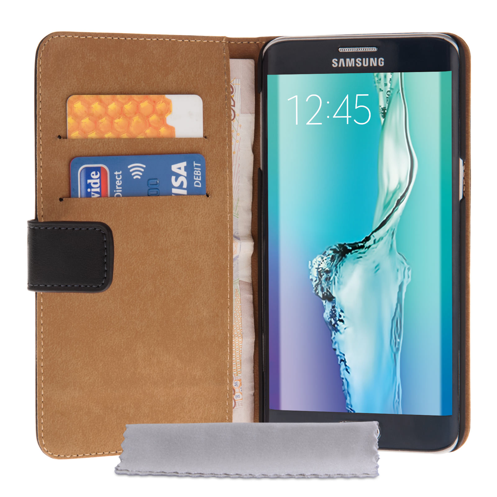 Yousave Accessories Samsung Galaxy S6 Edge Plus Real Leather Wallet Case -Black
