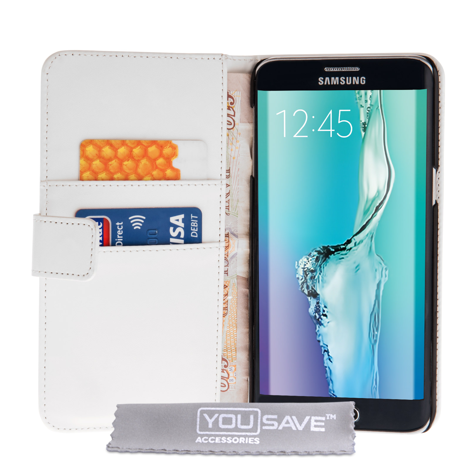 Yousave Accessories Samsung Galaxy S6 Edge Plus PU Leather Wallet Case -White