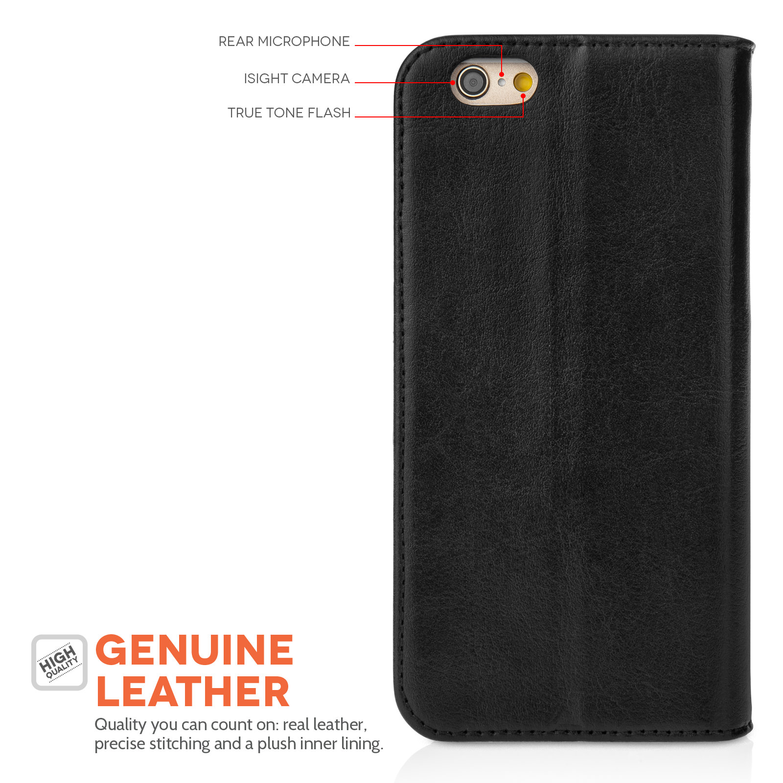 Yousave Accessories iPhone 6 and 6s Real Leather ID Wallet - Black Case