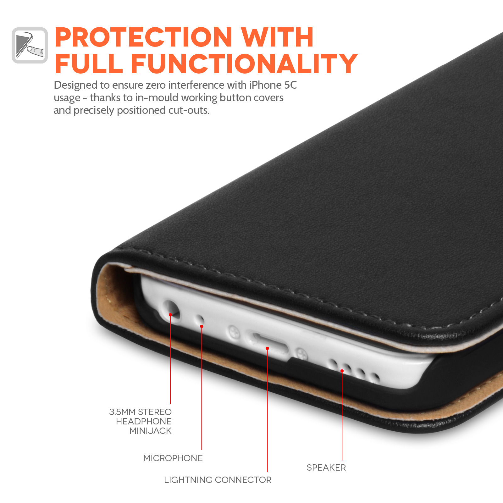 Yousave Accessories iPhone 5C Real Leather Wallet Stand Case - Black