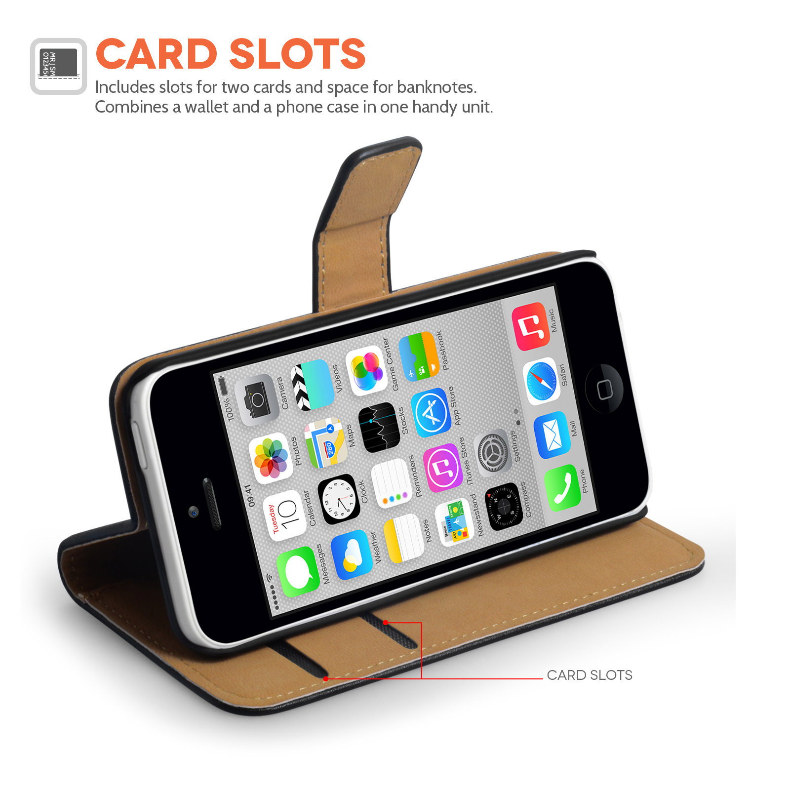 wallet case for iphone 5c yousave accessories iphone 5c real leather wallet stand 1803