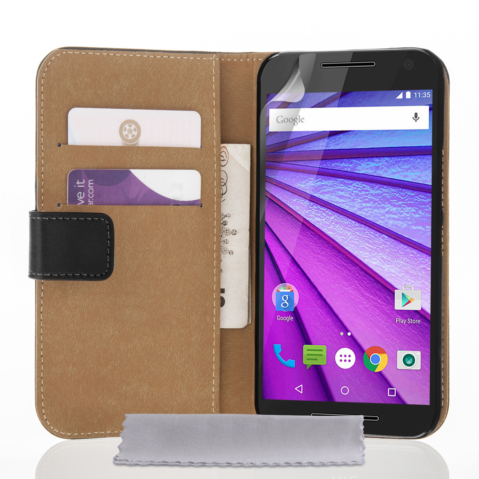 Yousave Accessories Motorola Moto G 3rd Gen Real Leather Wallet Case - Black