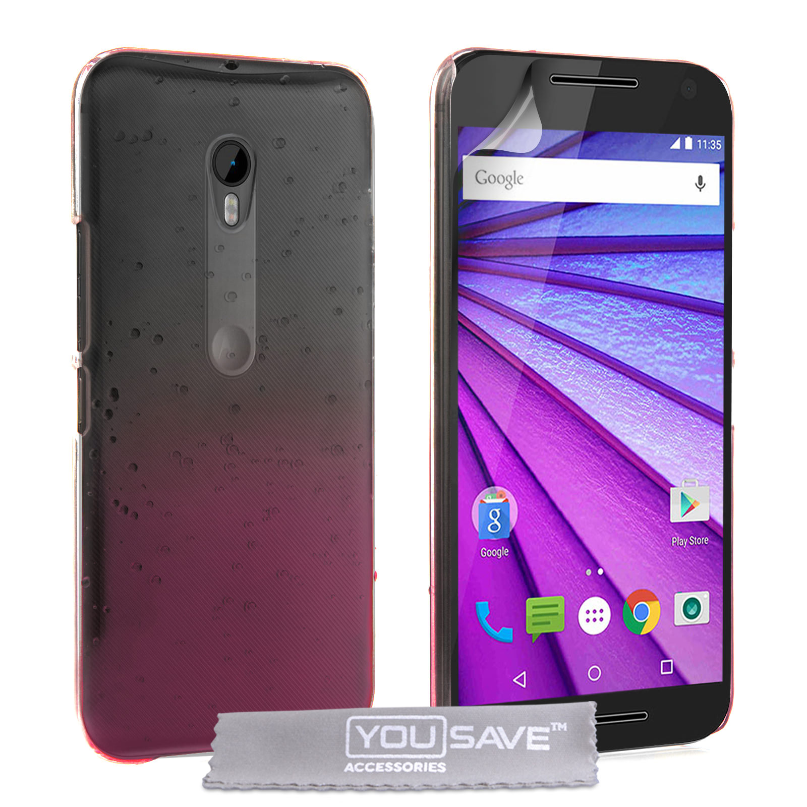 Yousave Accessories Motorola Moto G 3rd Gen Raindrop Hard Case - Pink / Clear