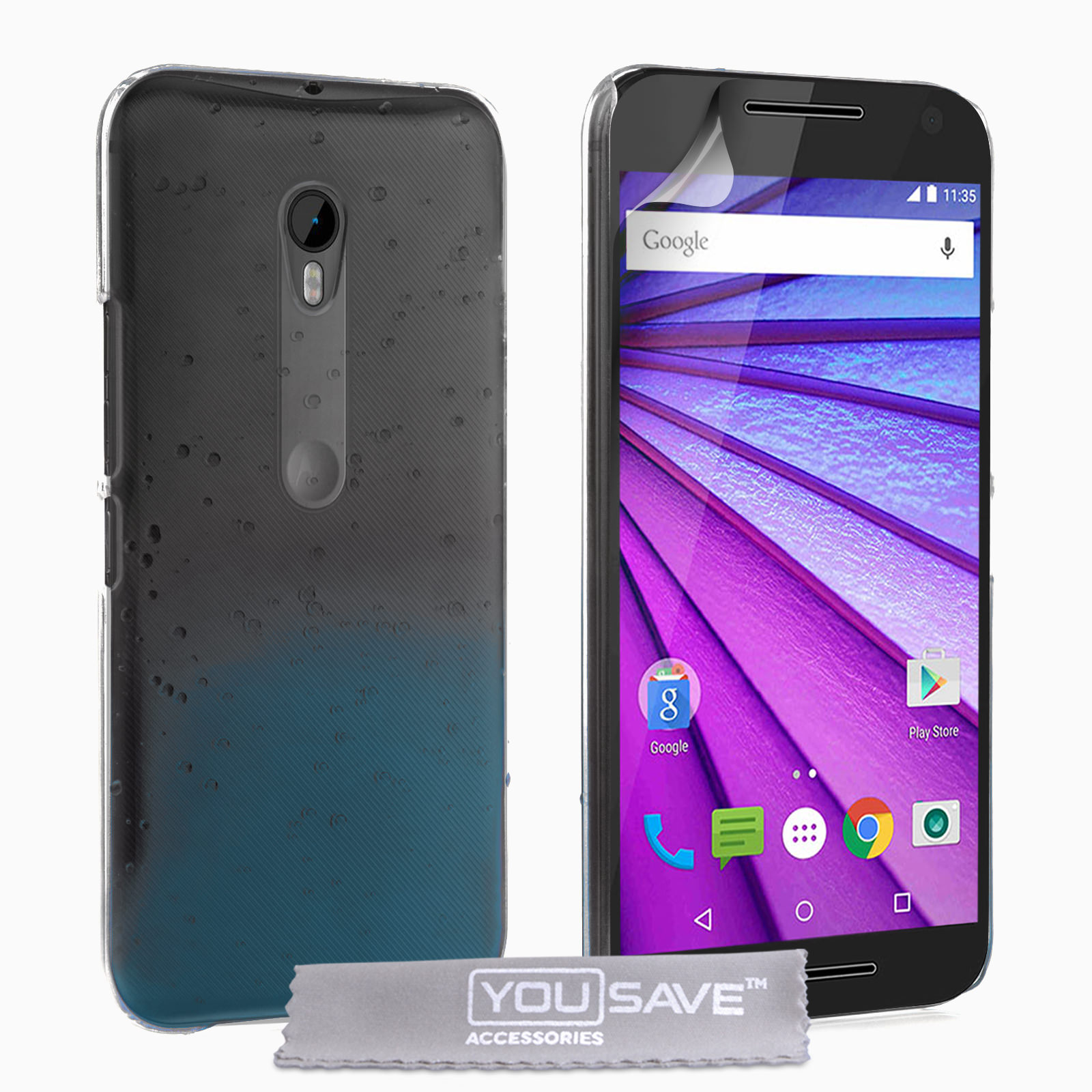 Yousave Accessories Motorola Moto G 3rd Gen Raindrop Hard Case - Blue / Clear