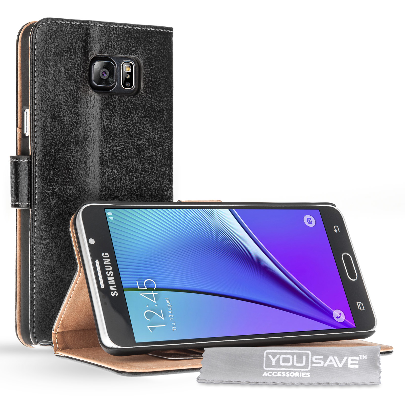 Yousave Accessories Samsung Galaxy Note 5 Leather-Effect Stand Wallet Case - Black