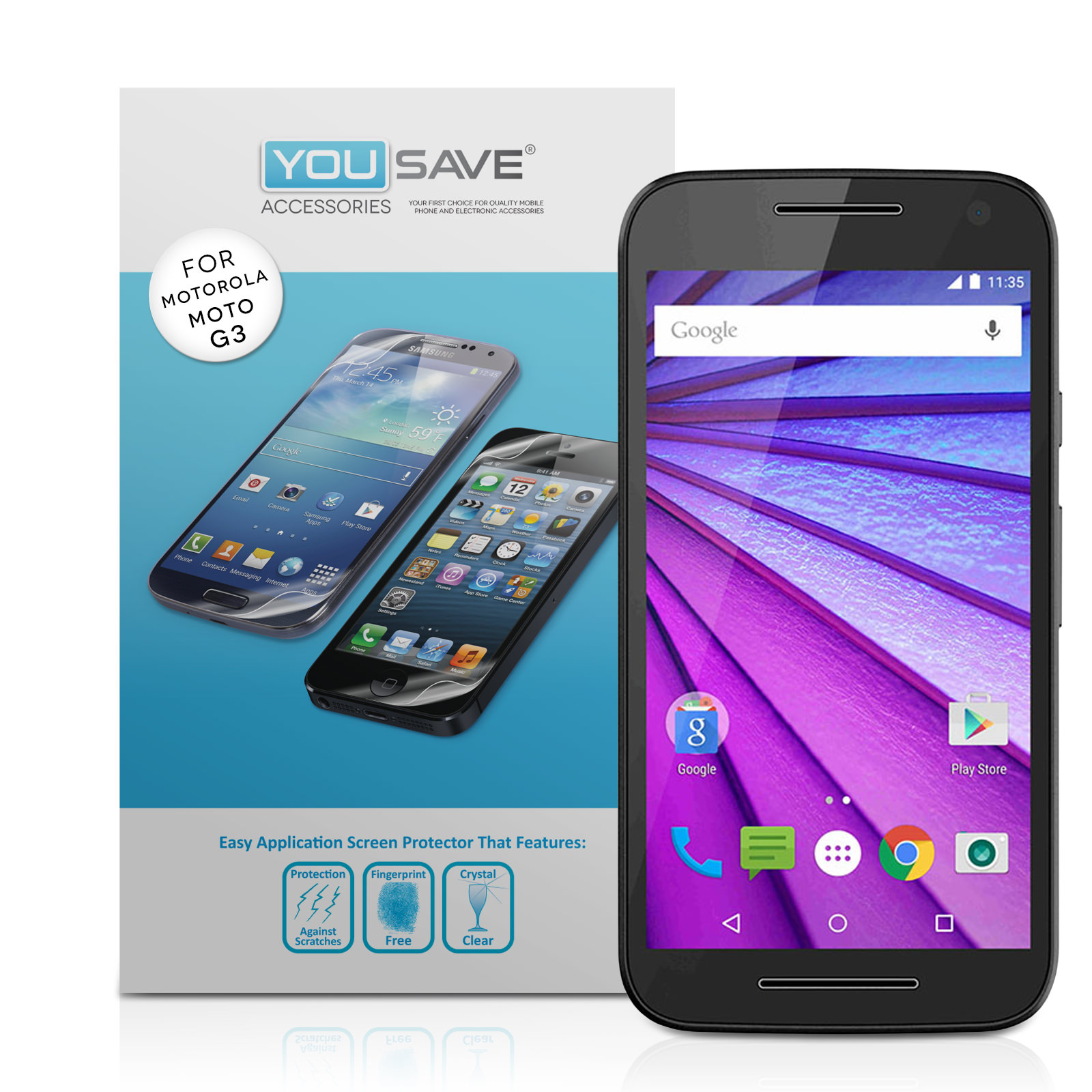 Yousave Accessories Motorola Moto G 3rd Gen Screen Protectors - 5 Pack