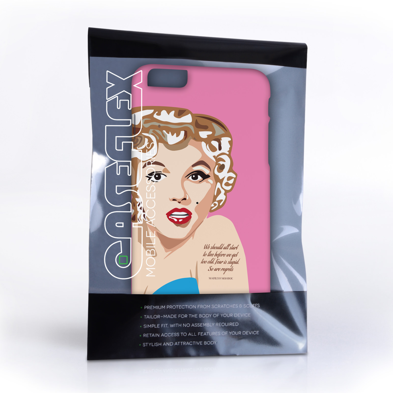 Caseflex iPhone 6 Plus and 6s Plus Marilyn Monroe 'Fear is Stupid' Quote Case