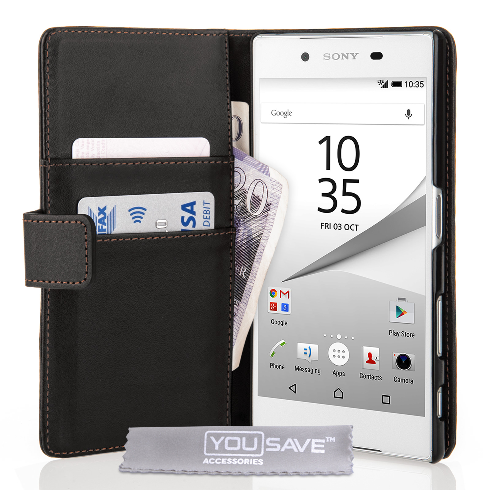 YouSave Accessories Sony Xperia Z5 Leather-Effect Wallet Case - Black
