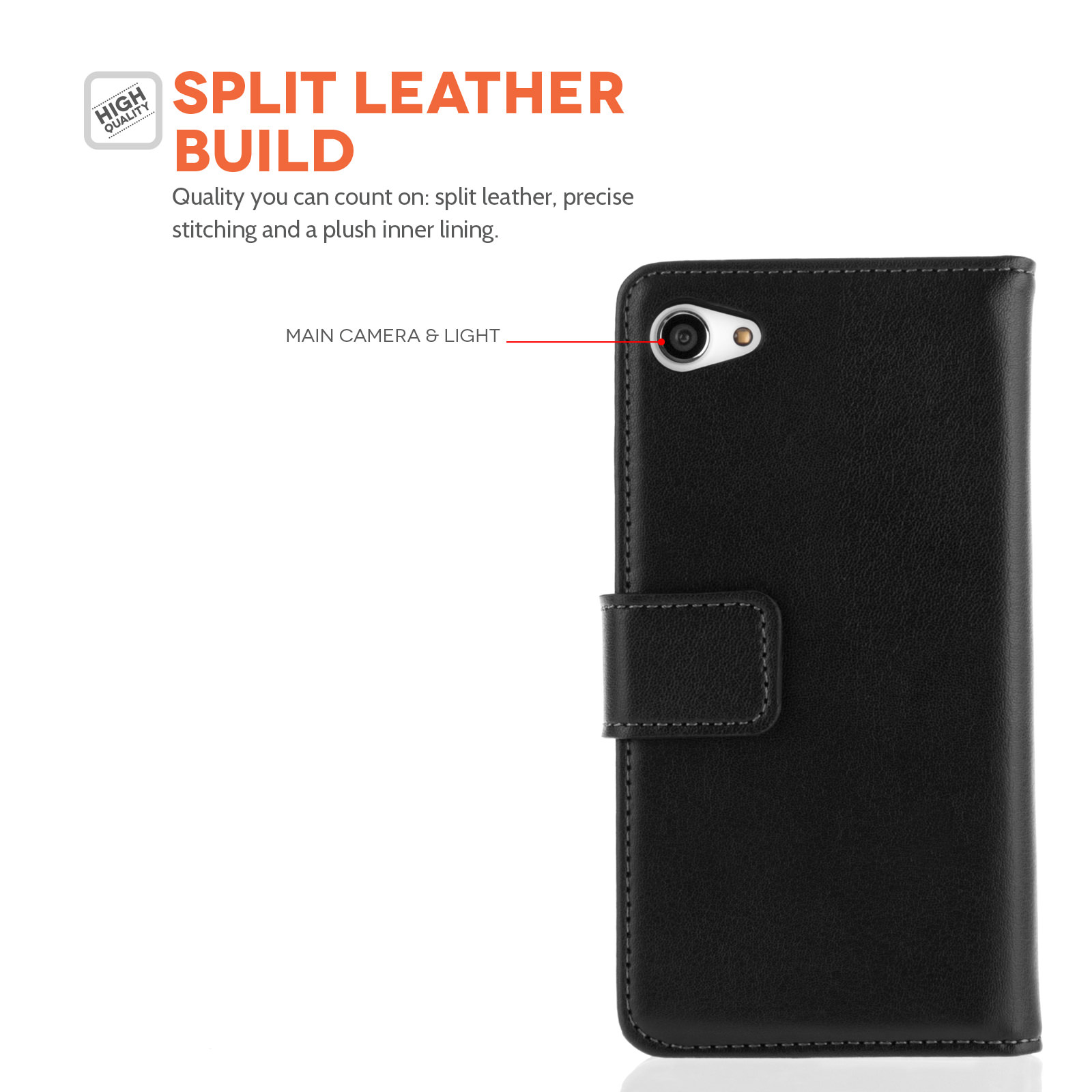 Caseflex Sony Xperia Z5 Compact Real Leather Wallet Case - Black
