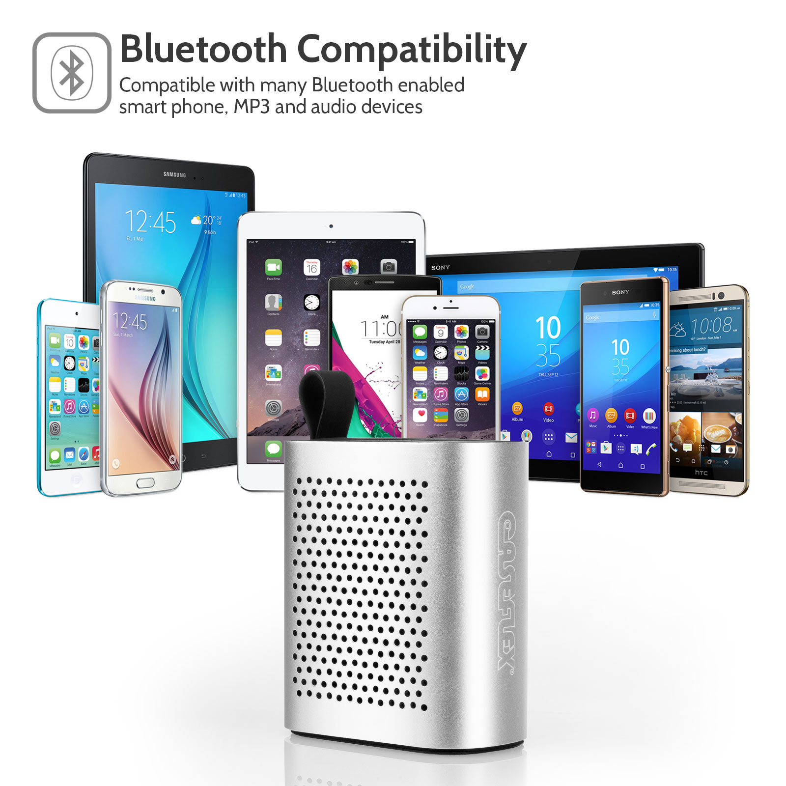 Caseflex Wireless Mini Bluetooth Speaker  - Silver