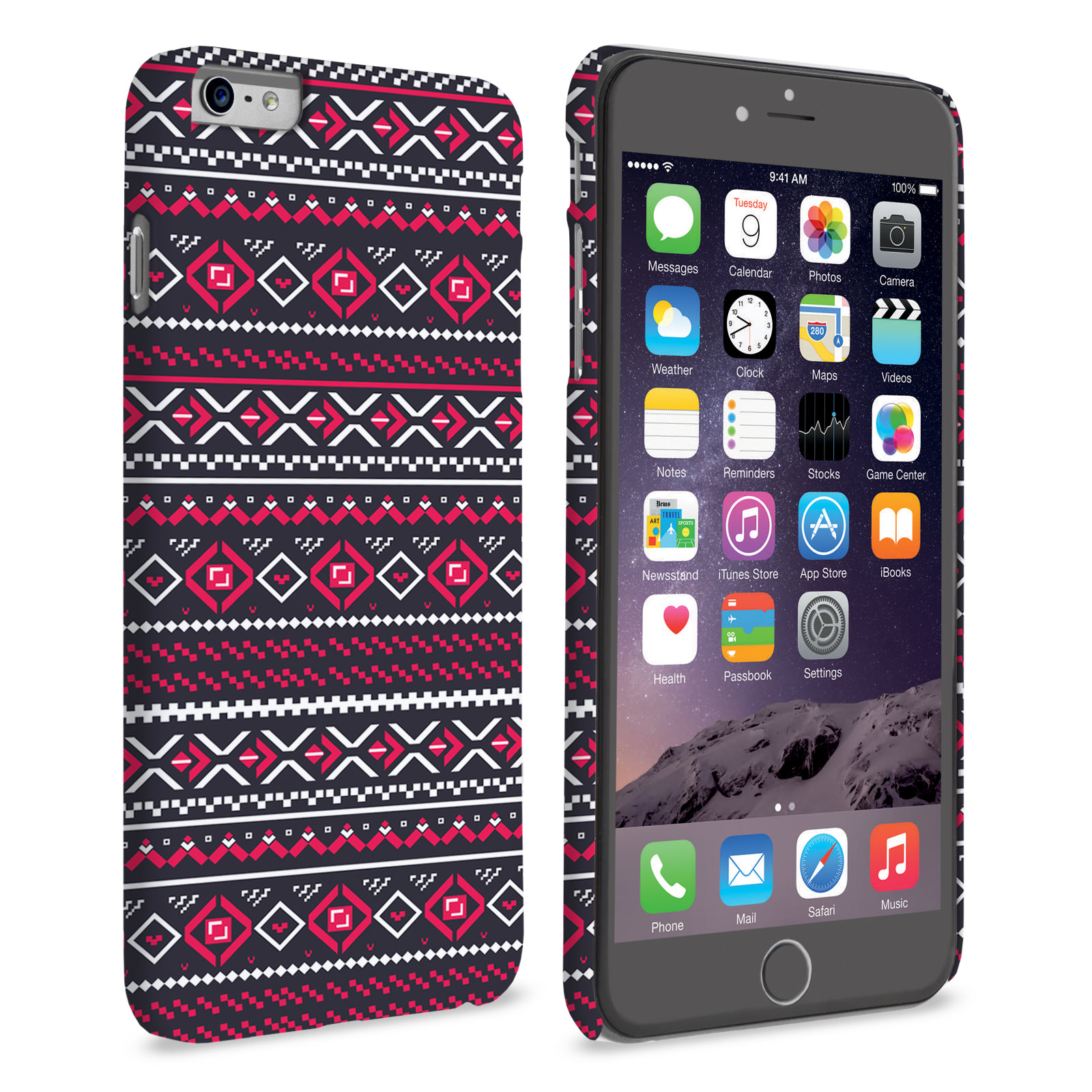 Caseflex iPhone 6 and 6s Plus Fairisle Case – Grey with Red Background