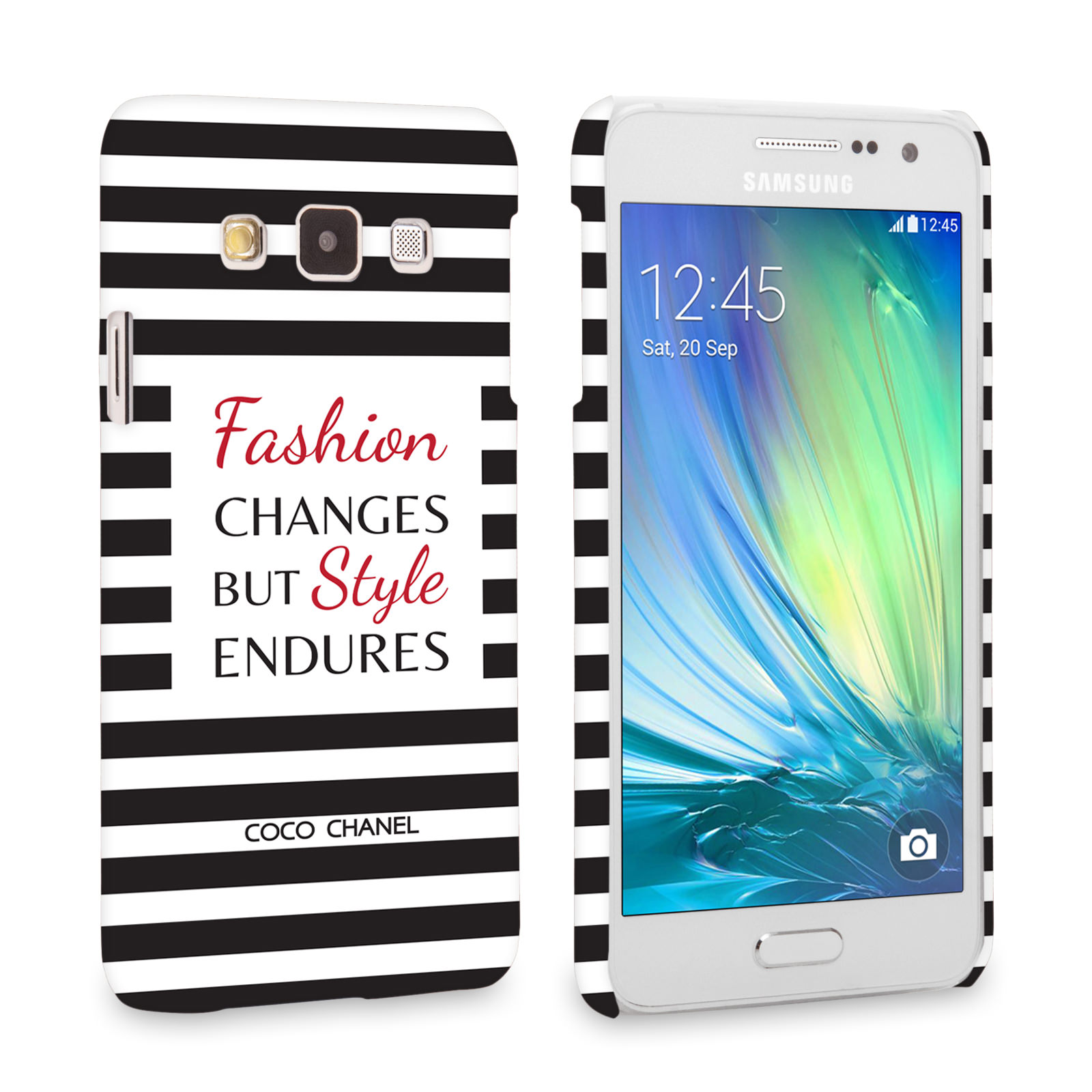 Caseflex Samsung Galaxy A3 Chanel 'Fashion Changes' Quote Case – Black and White