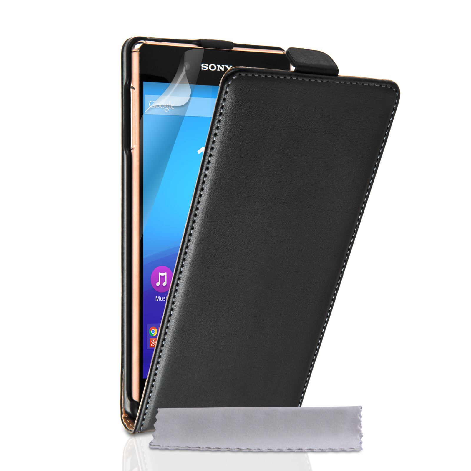 Caseflex Sony Xperia Z3+ Real Leather Flip Case - Black