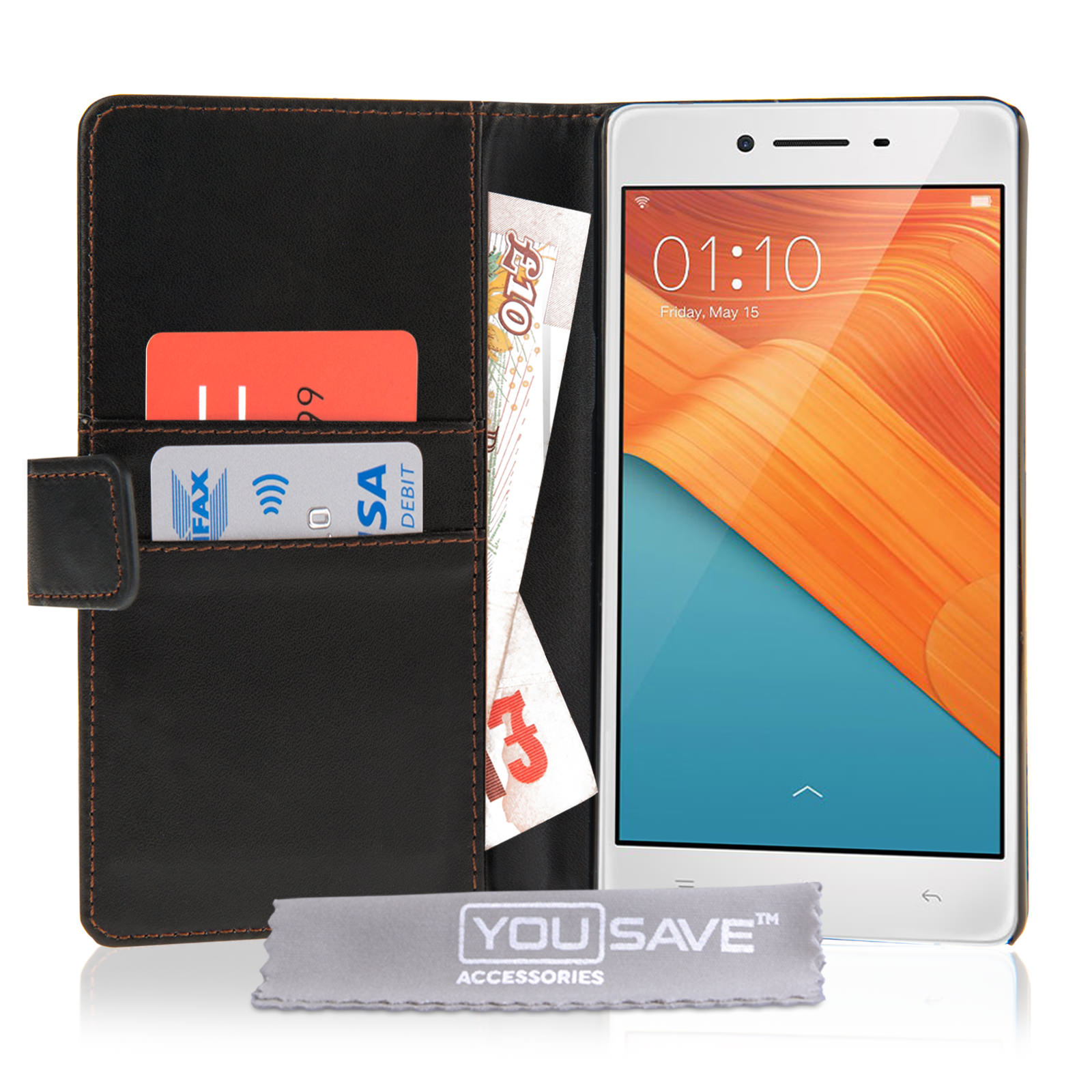 Yousave Accessories Oppo R7 Leather-Effect Wallet Case - Black