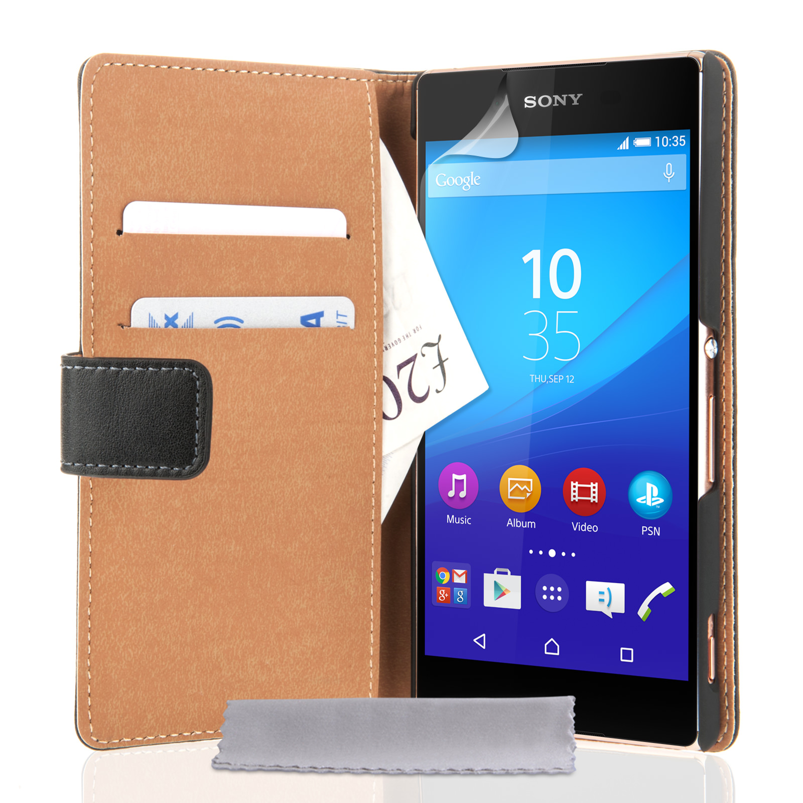 Caseflex Sony Xperia Z3+ Real Leather Wallet Case - Black