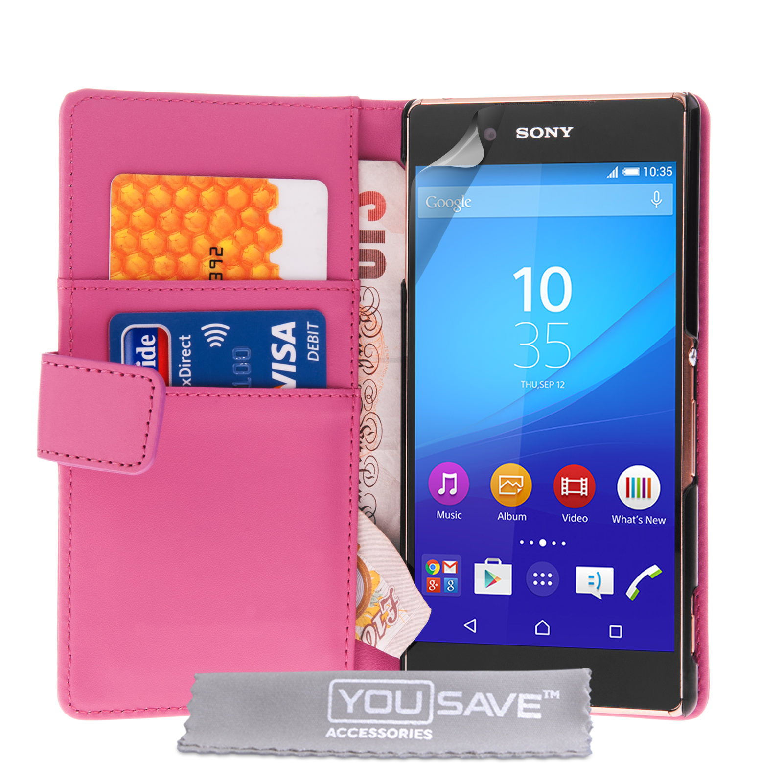 YouSave Sony Xperia Z3+ Leather-Effect Wallet Case - Hot Pink