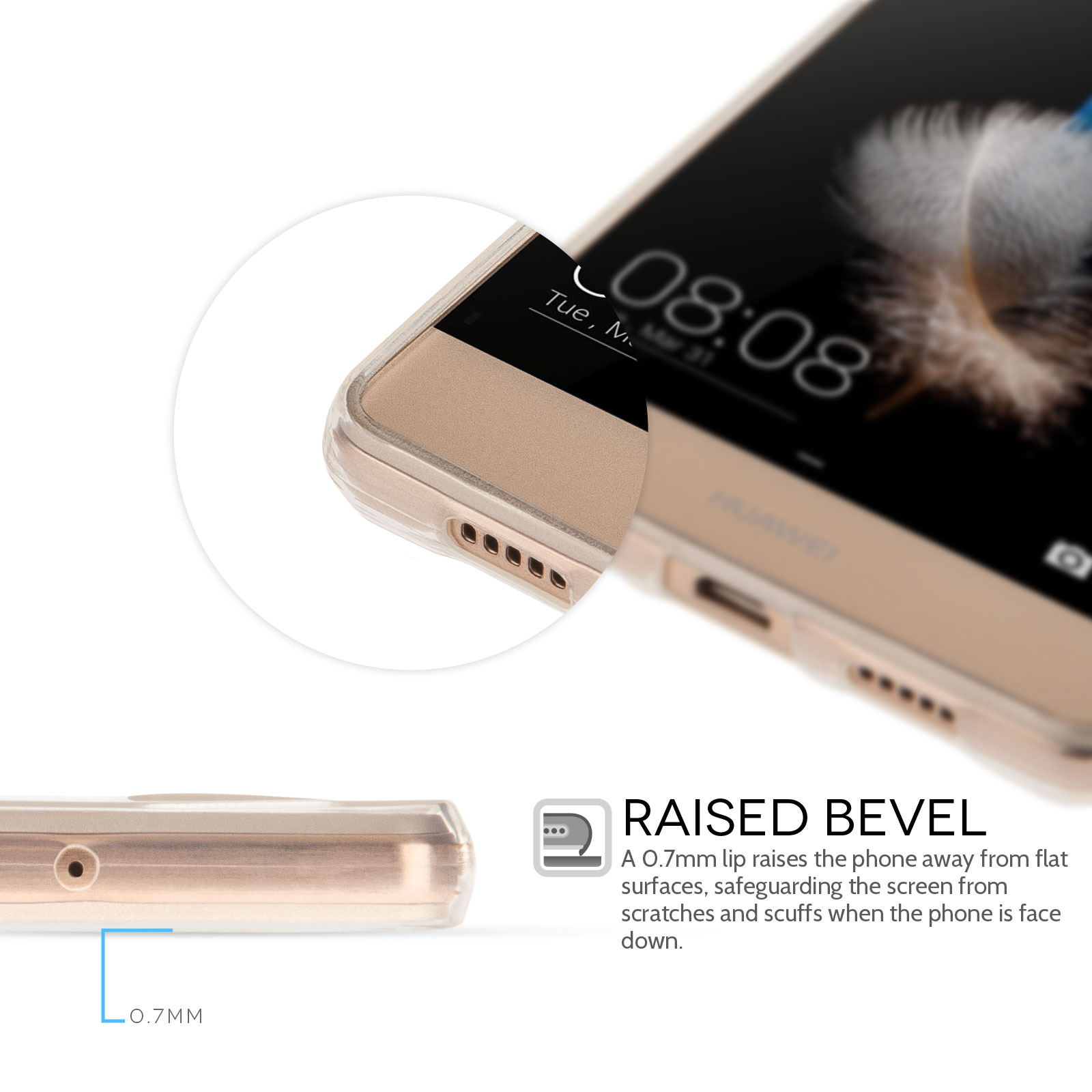 Yousave Accessories Huawei P8 Lite 0.6mm Clear Gel Case