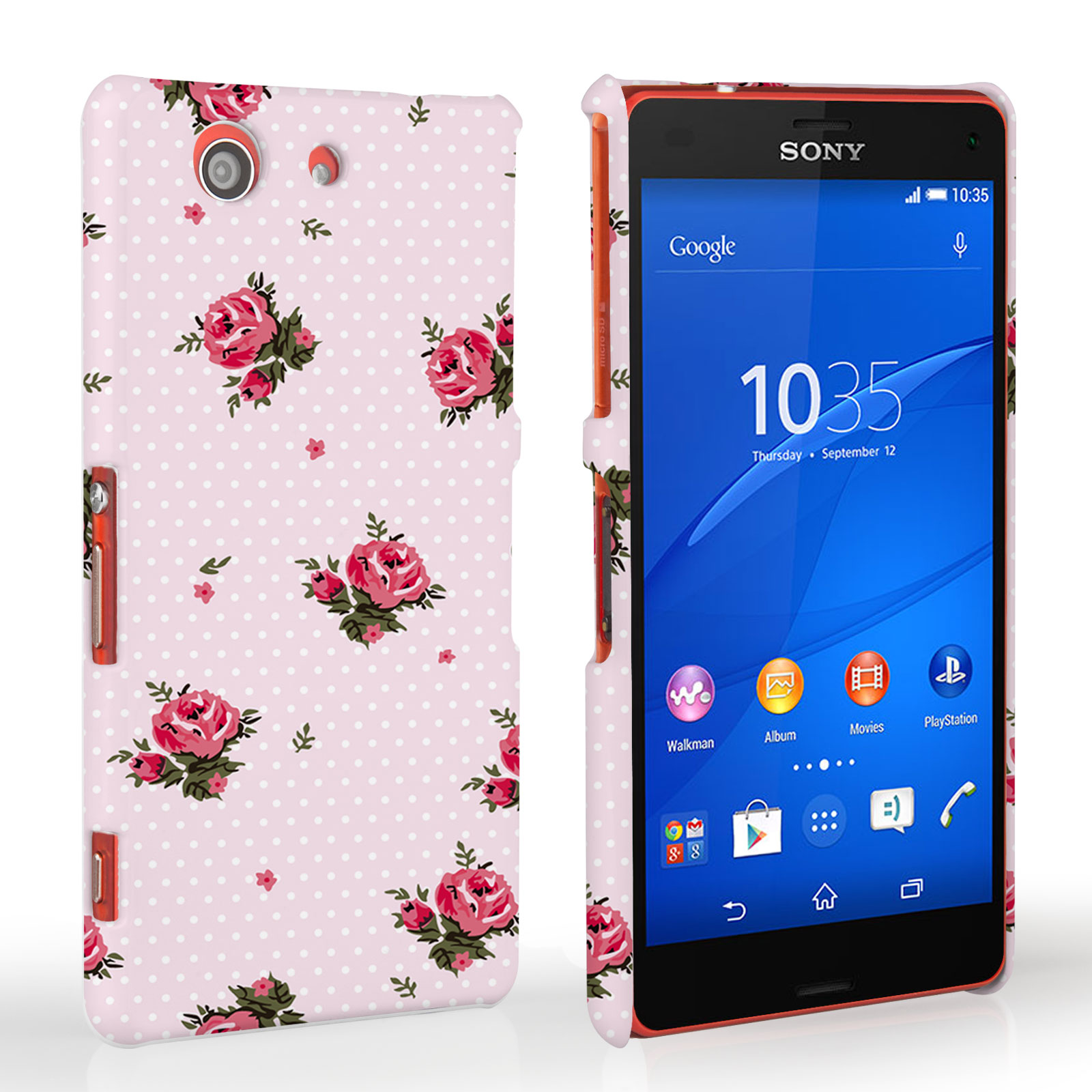 Caseflex Sony Xperia Z3 Compact Vintage Roses Polka Dot Wallpaper Hard Case – Pink