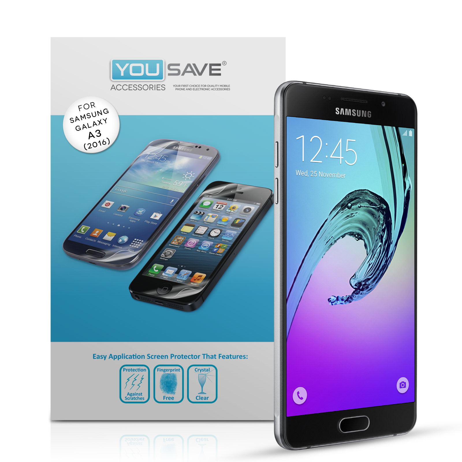 Yousave Accessories Samsung Galaxy A3 (2016) Screen Protectors x5