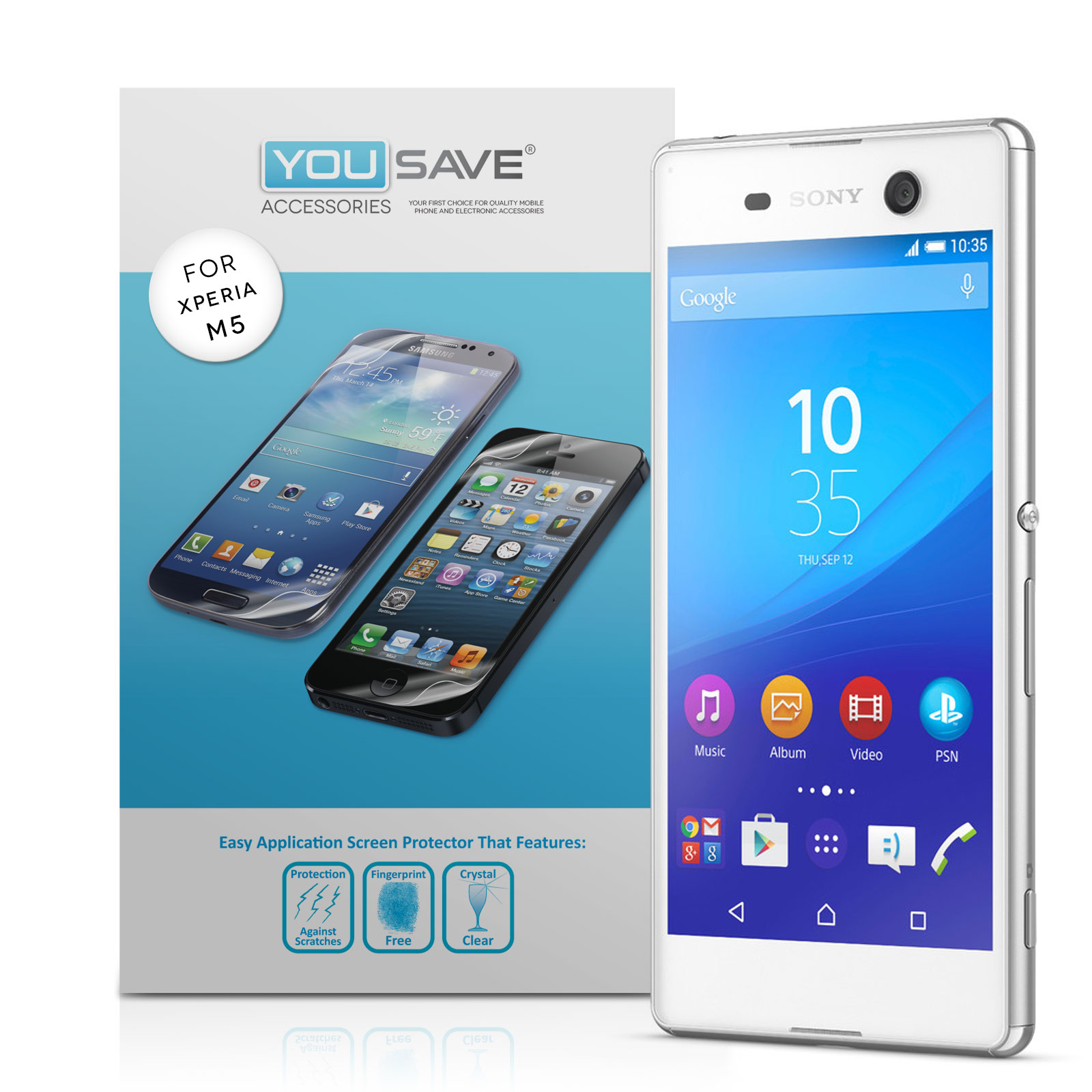 Yousave Accessories Sony Xperia M5 Screen Protectors x5