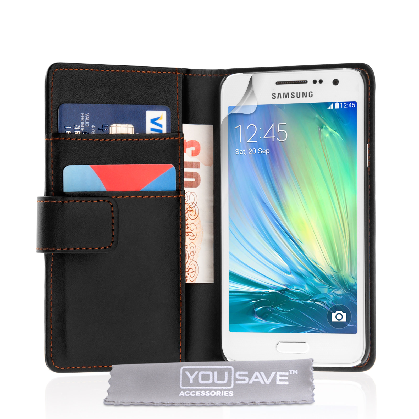 Yousave Accessories Samsung Galaxy A3 (2016) Leather-Effect Wallet Case - Black