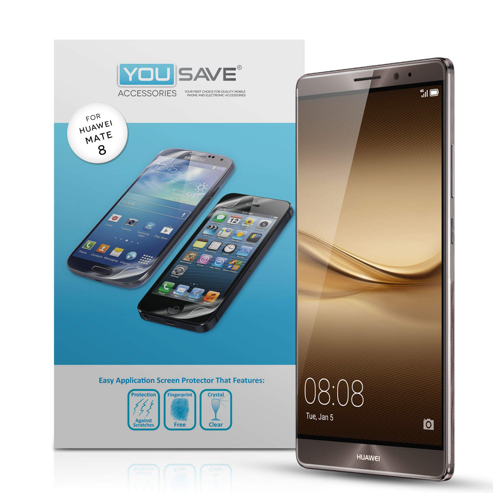 Yousave Accessories Huawei Mate 8 Screen Protectors x5