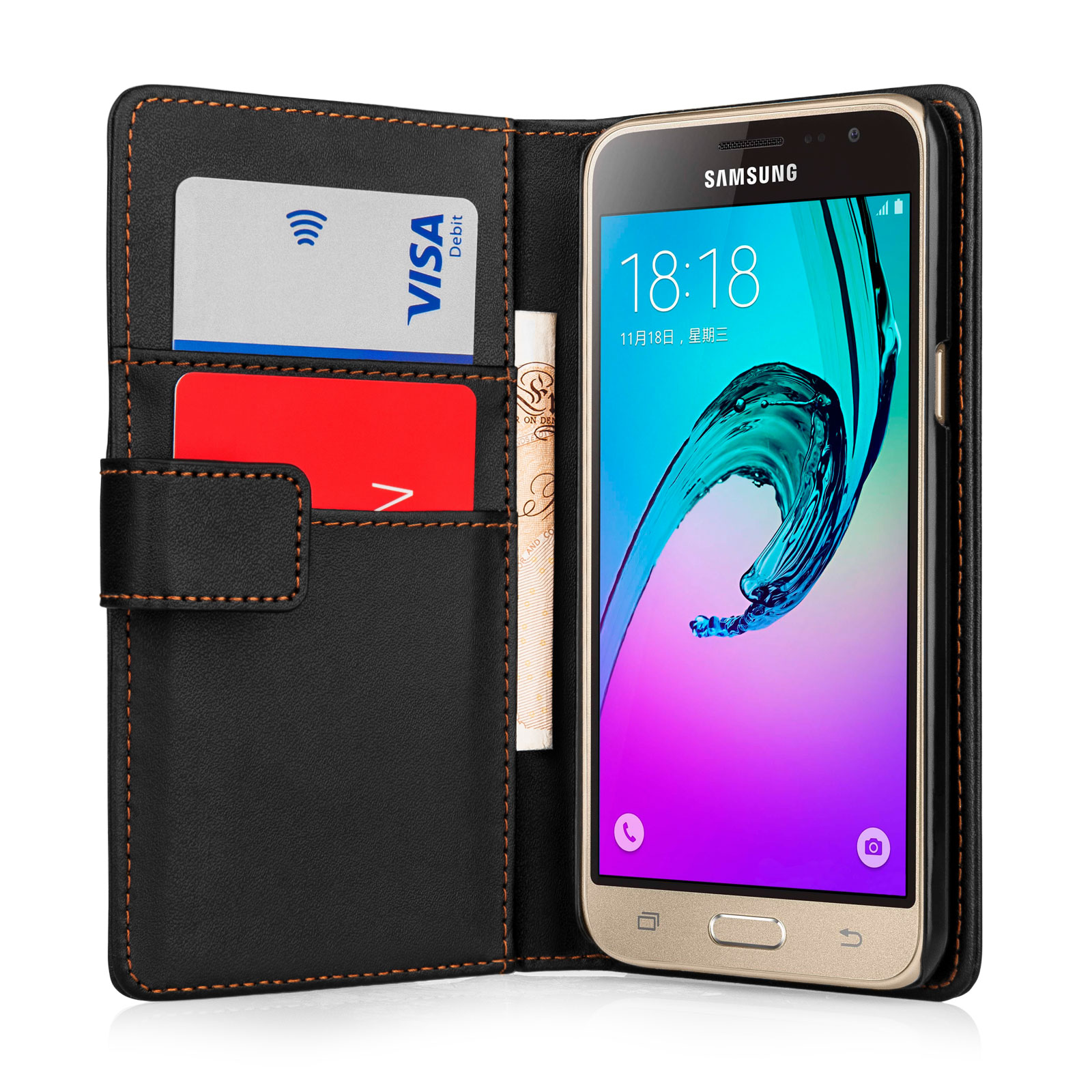 the latest 52edd 1df50 Samsung Galaxy J3 Leather Effect Wallet Case - Black