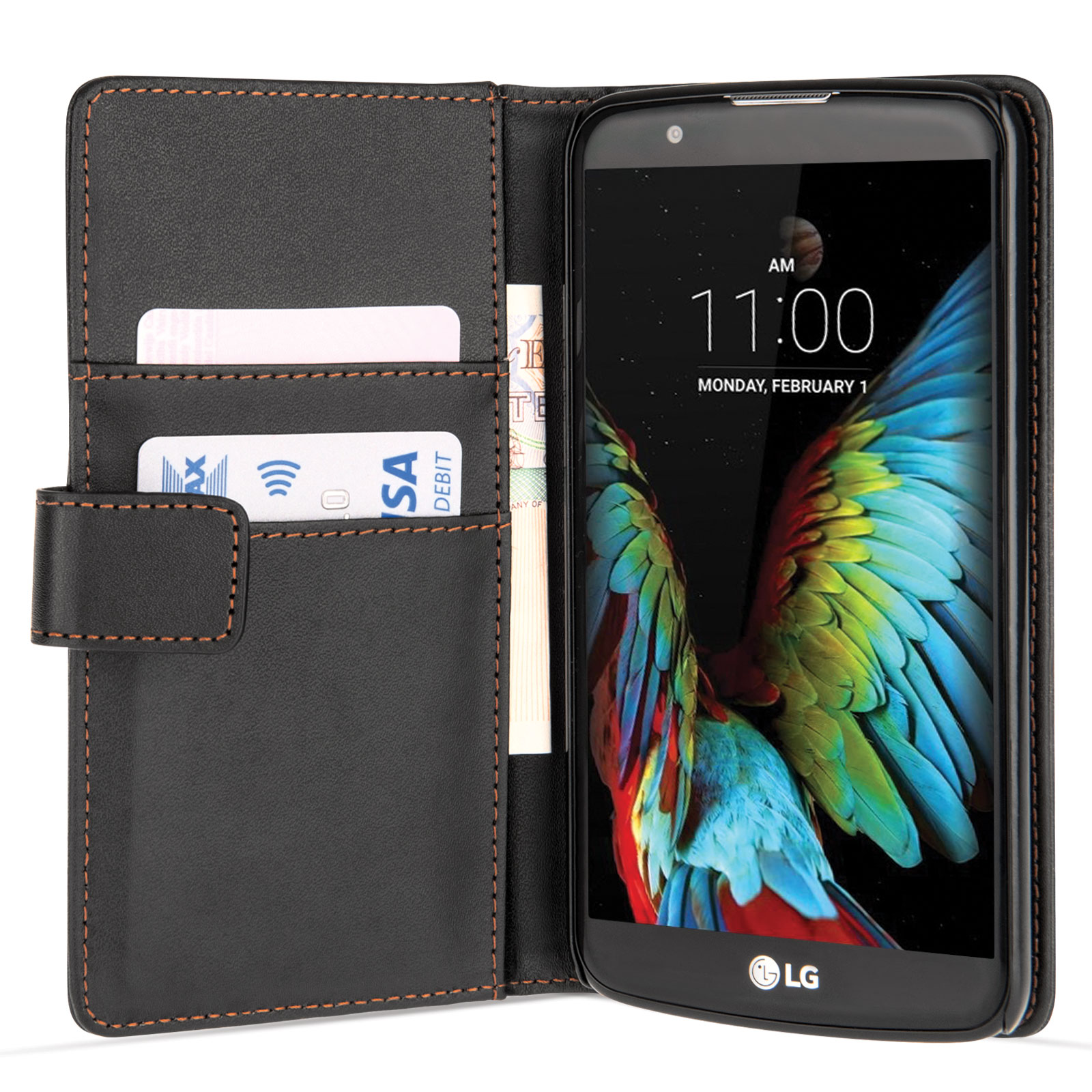Yousave Accessories LG K10 Leather-Effect Wallet Case - Black