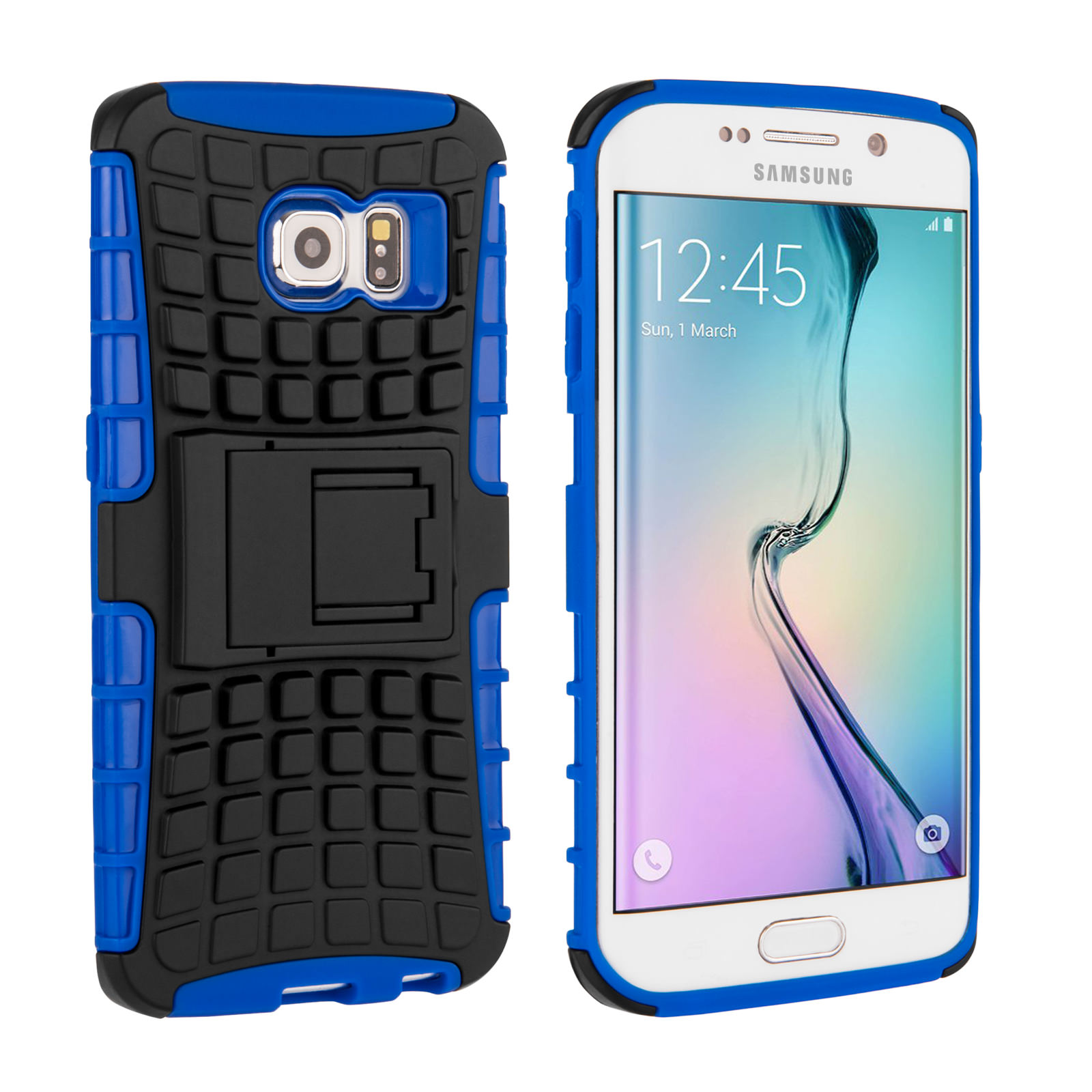 Yousave Accessories Samsung Galaxy S6 Edge Stand Combo Case - Blue / Black