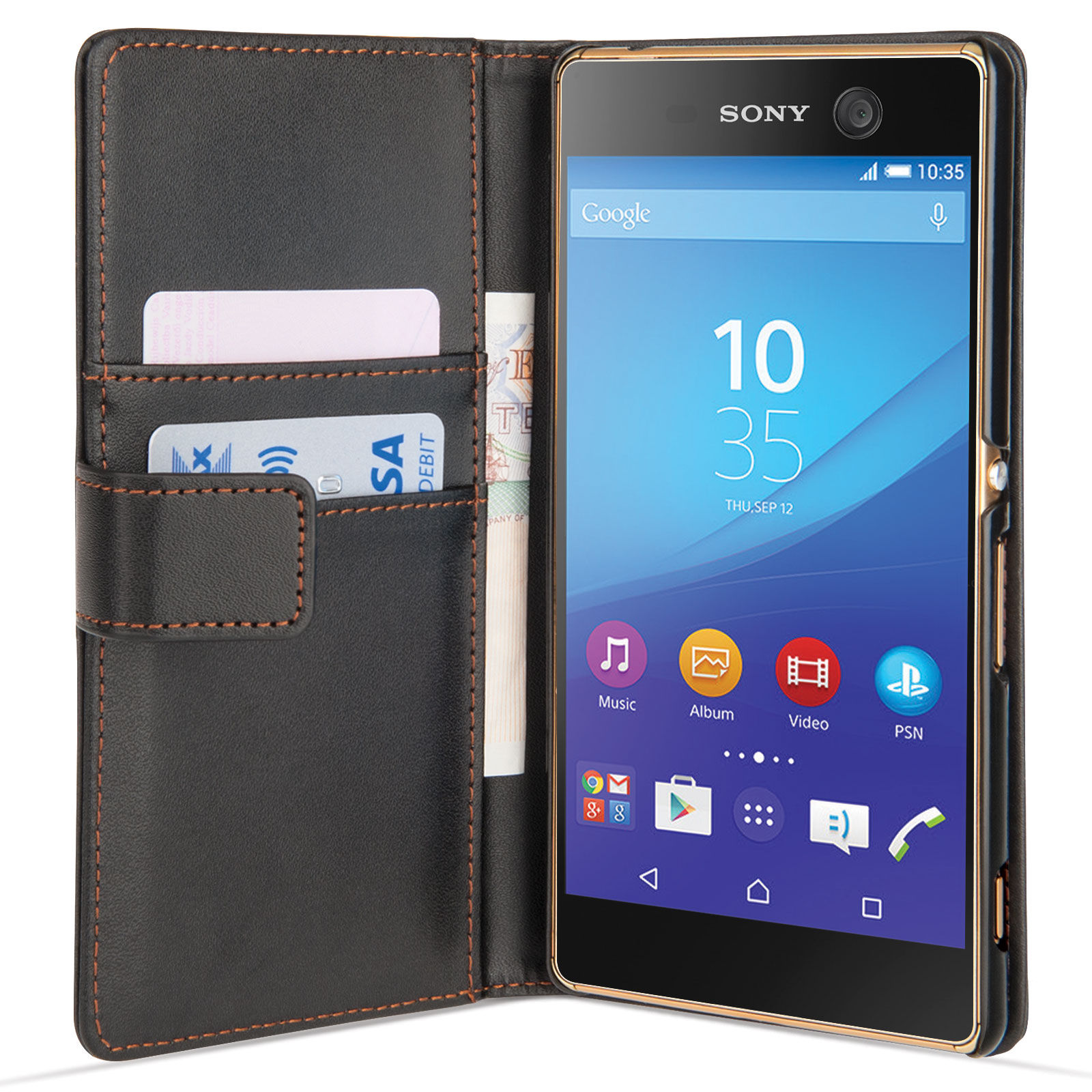 Yousave Accessories Sony Xperia M5 Leather-Effect Wallet Case - Black