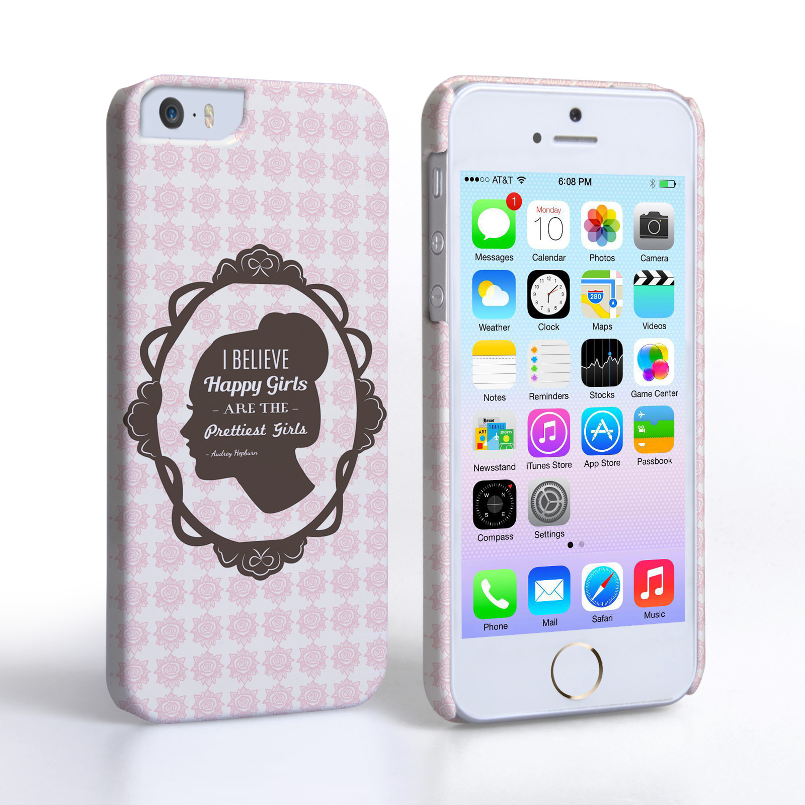 Caseflex iPhone SE Audrey Hepburn 'Happy Girls' Quote Case